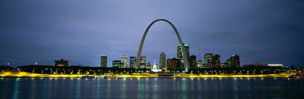 Mississippi River Photograph - Buildings Lit Up At Dusk, Mississippi by Panoramic Images