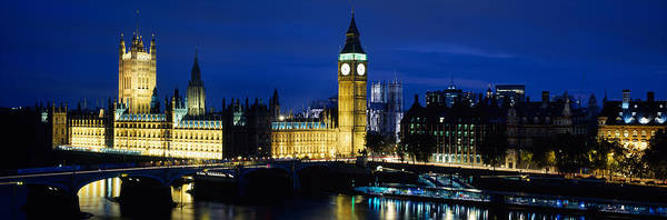 Houses Of Parliament Wall Art - Photograph - Buildings Lit Up At Dusk, Westminster by Panoramic Images