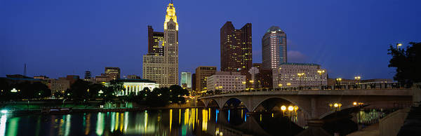 Scioto Photograph - Buildings Lit Up At Night, Columbus by Panoramic Images