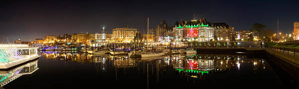 Victoria Harbor Wall Art - Photograph - Buildings Lit Up At Night, Inner by Panoramic Images