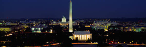 Capitol Building Photograph - Buildings Lit Up At Night, Washington by Panoramic Images