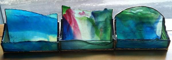 Glass Art - Buisiness Card Holders by Karin Thue