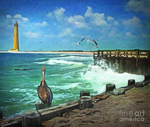 Hurricane Digital Art - Bulkhead At Holgate Beach by Lianne Schneider