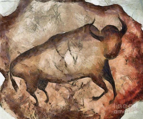 Primeval Painting - bull a la Altamira by Michal Boubin