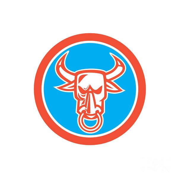 Longhorn Digital Art - Bull Cow Head Nose Ring Circle Cartoon by Aloysius Patrimonio
