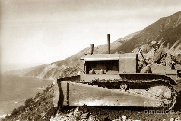 Photograph - Bull Dozer Road Construction On Highway One Big Sur Circa 1930 by California Views Archives Mr Pat Hathaway Archives