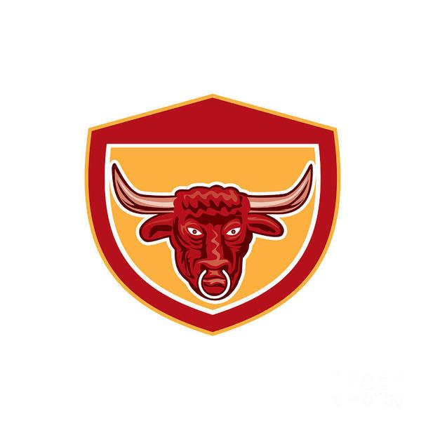 Longhorn Digital Art - Bull Head Front View Crest Retro by Aloysius Patrimonio