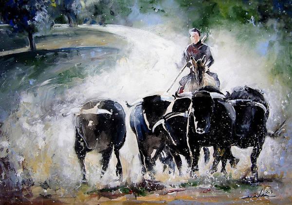 Painting - Bull Herd by Miki De Goodaboom