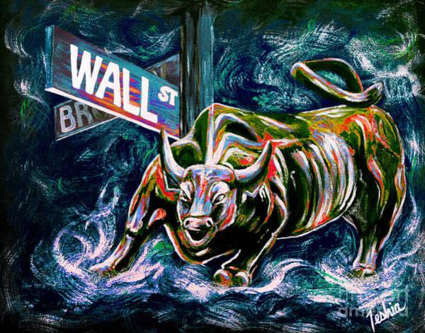 Metallic Painting - Bull Market Night by Teshia Art