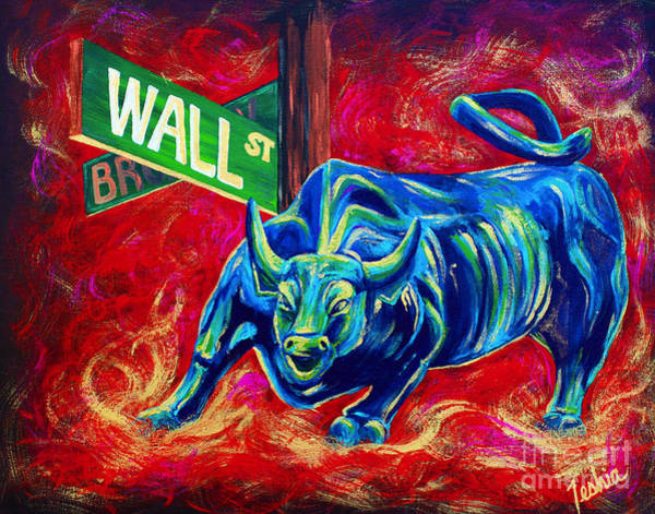 Market Wall Art - Painting - Bull Market by Teshia Art