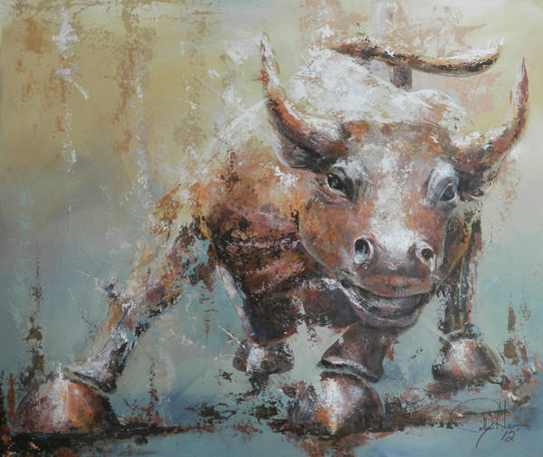 Pallet Wall Art - Painting - Bull Market Y by John Henne