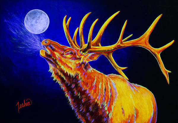 Red Moon Painting - Bull Moon by Teshia Art