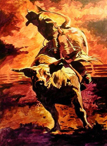 Painting - Bull Rider by Tim  Joyner