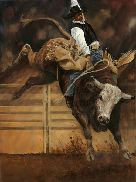 Riding Painting - Bull Riding 1 by Don  Langeneckert