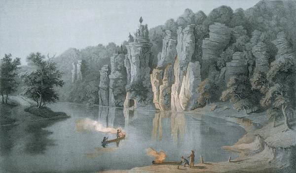 Twilight Drawing - Bullard Rock On The New River by Edward Beyer