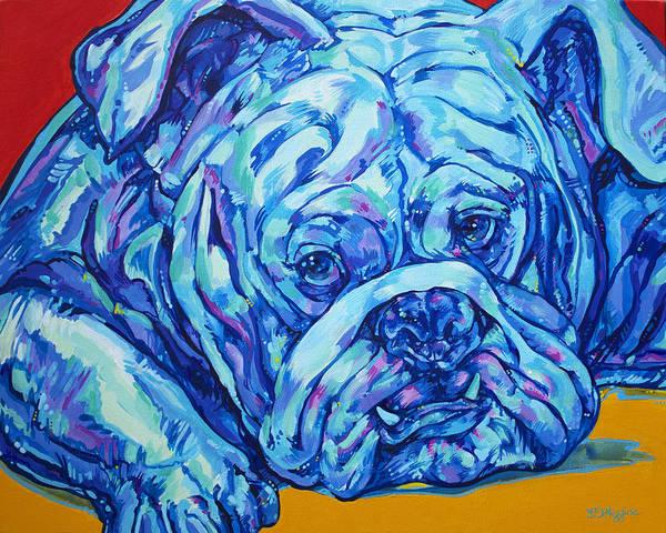 English Bulldog Painting - Bulldog Blues by Derrick Higgins