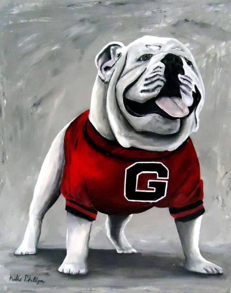 Dorms Wall Art - Painting - Uga Bulldog College Mascot Dawg by Katie Phillips