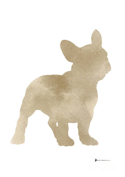 French Bulldog Painting - Bulldog Silhouette Painting Watercolor Art Print by Joanna Szmerdt