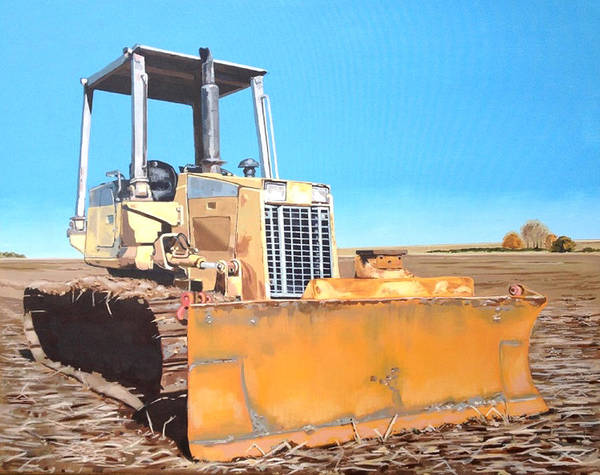 Plowing Painting - Bulldozer In Field by Jeffrey Bess