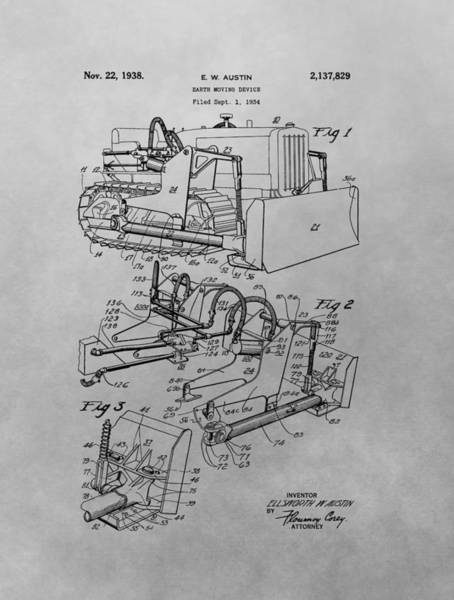 Drawing - Bulldozer Patent Drawing by Dan Sproul