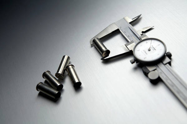 Dials Photograph - Bullet Cases And Calipers by Gary Smith/science Photo Library