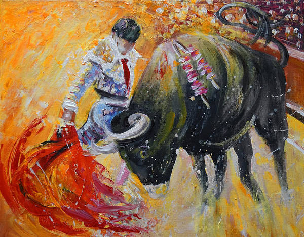 Wall Art - Painting - Bullfighting In Neon Light 02 by Miki De Goodaboom