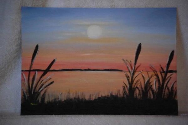 Bullrush Painting - Bullrushes At Sunset by Helen Powell