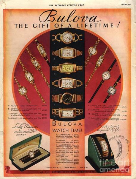 Bulova 1920s Usa Watches by The Advertising Archives