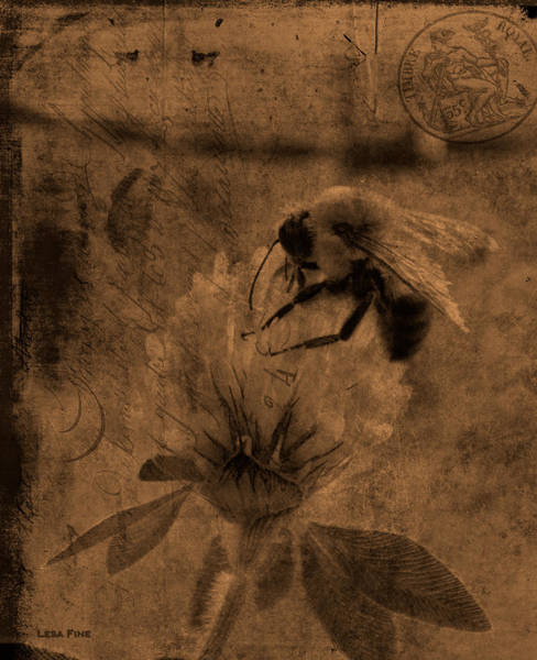 Photograph - Bumble Bee Post Card 2 Sepia by Lesa Fine