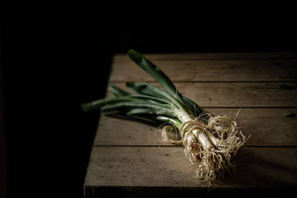 Scallion Photograph - Bunch Of Spring Onions Tied With by Westend61