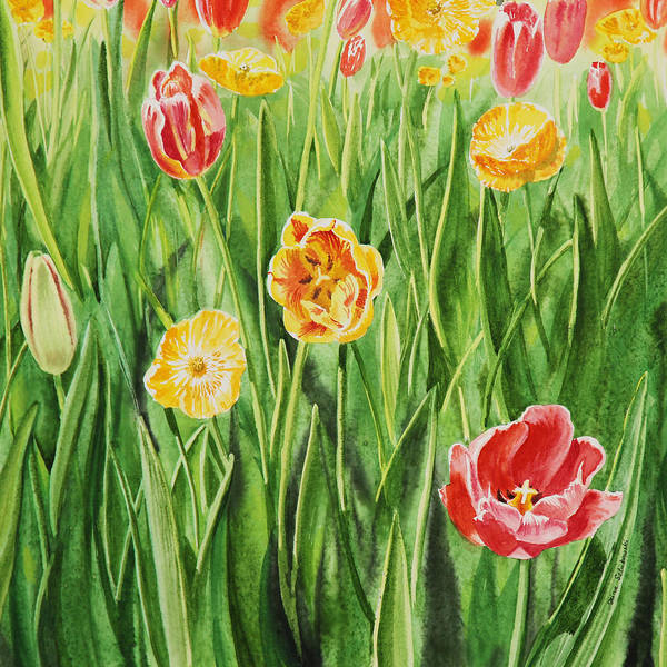 Holland Wall Art - Painting - Bunch Of Tulips II by Irina Sztukowski