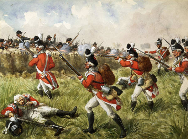 Wounded Soldier Painting - Bunkers Hill, 1775 by Richard Simkin