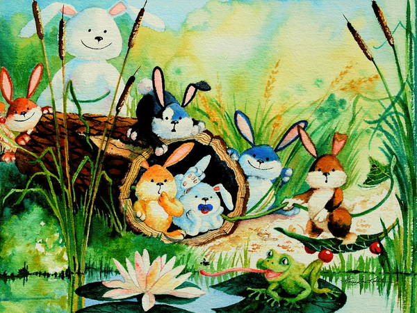 Wall Art - Painting - Bunnies Log And Frog by Hanne Lore Koehler