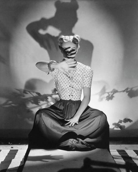 Floral Photograph - Bunny Hartley Casting A Shadow On Her Face by Horst P. Horst
