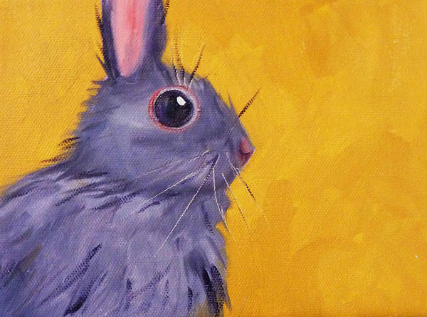Cotton Painting - Bunny by Nancy Merkle