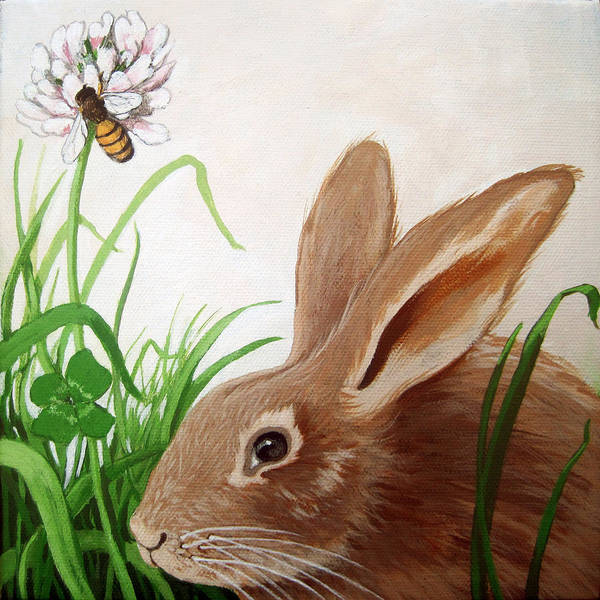 Wall Art - Painting - Bunny View by Linda Apple