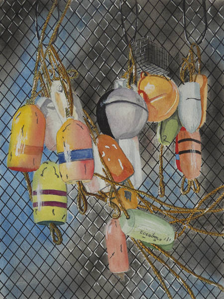 Netting Painting - Buoys And Netting by John Edebohls