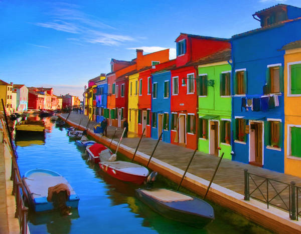 Waterway Painting - Burano Island In The Venetian Lagoon by Michael Pickett