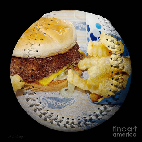 Photograph - Burger And Fries Baseball Square by Andee Design