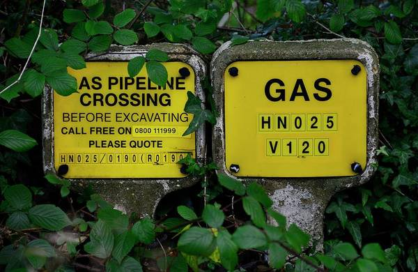 Buried Wall Art - Photograph - Buried Gas Pipeline Markers by Cordelia Molloy