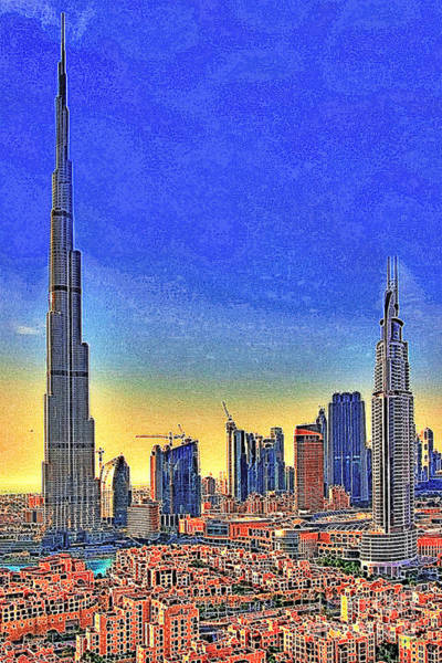 Highrise Digital Art - Burj Khalifa Dubai United Arab Emirates 20130426 by Wingsdomain Art and Photography