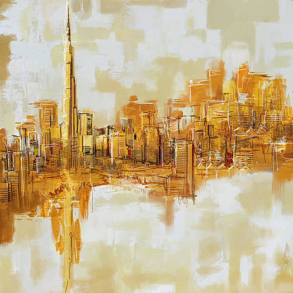 Tall Buildings Painting - Burj Khalifa Skyline by Corporate Art Task Force