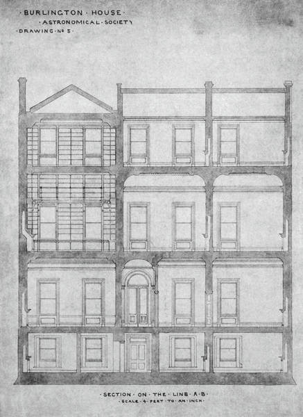 Wall Art - Photograph - Burlington House Architectural Plans by Royal Astronomical Society/science Photo Library