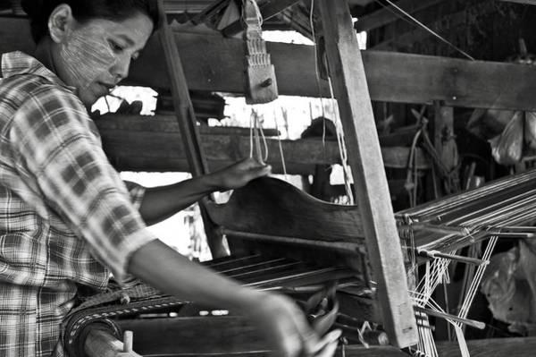 Photograph - Burmese Woman Working With A Handloom Weaving. by RicardMN Photography