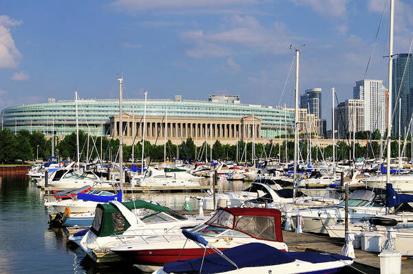 Luxury Yacht Photograph - Burnham Harbor And Soldier Field by Bruce Leighty