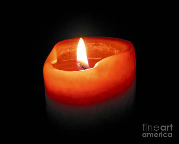 Burnt Orange Photograph - Burning Candle by Elena Elisseeva