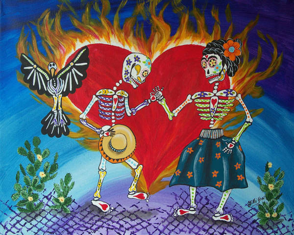 Latino Painting - Burning Love Frida And Diego by Julie Ellison