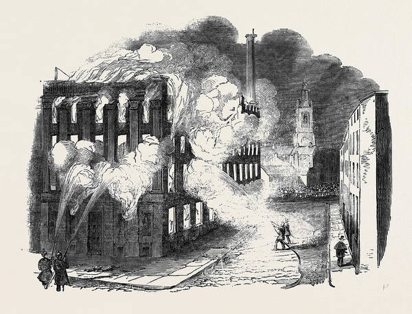 Manchester Drawing - Burning Of Irwell Buildings by English School