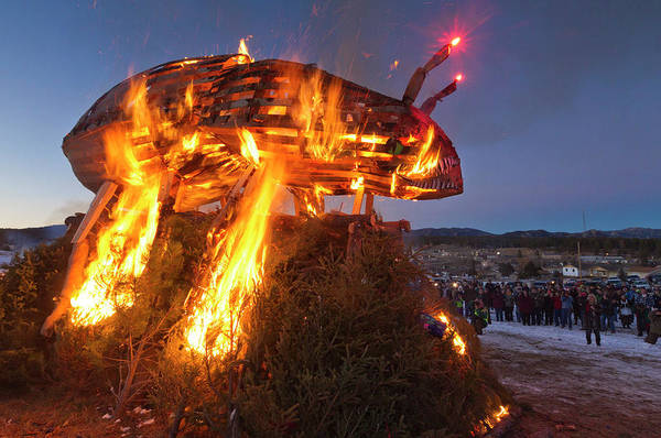 Wall Art - Photograph - Burning Of Pine Beetle Effigy, Custer by Peter Essick