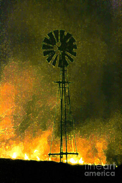 Digital Art - Burning Of The Fields By Night by E B Schmidt
